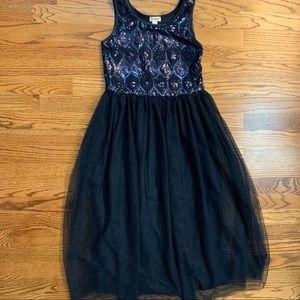 Girls navy sequined dress